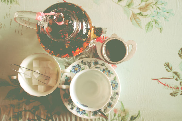Directly above shot of tea on table