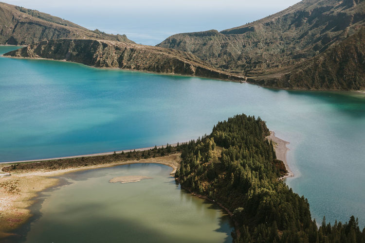 Azores Azores, S. Miguel Lake Lagoa Do Fogo Mountain Water Tranquil Scene Beauty In Nature Turquoise Colored Outdoors Lagoon Mountain Range Vulcano Idyllic Sky Tree No People Tranquility Scenics - Nature Nature Reflection Land Landscape