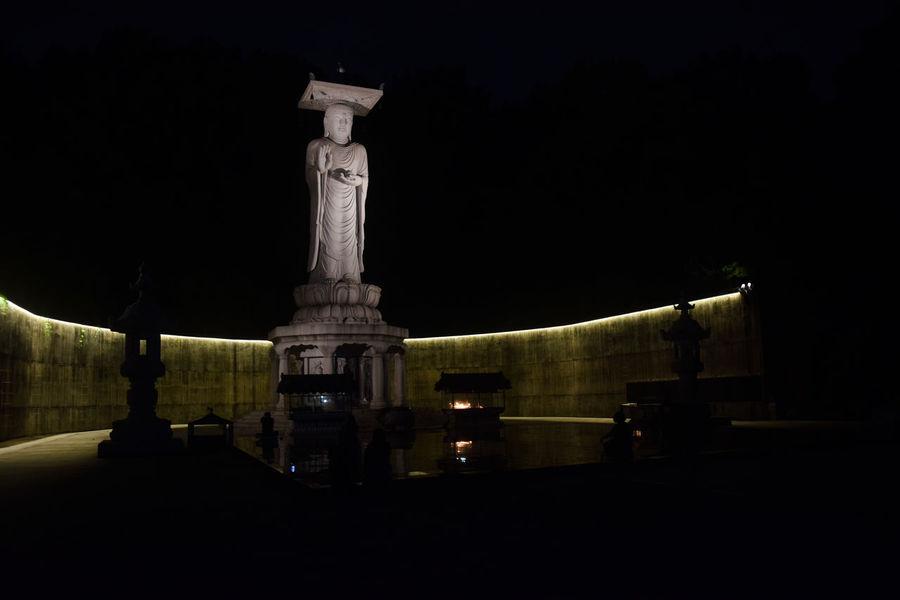 Bongeunsa Temple Architecture Bongeunsa Buddha Buddha Statue Built Structure Illuminated Illuminated Buddha Night No People Outdoors Seoul South Korea Statue