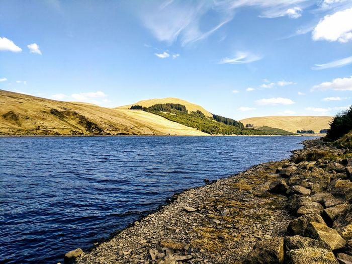 Yellow Hills Loch  Scotland Reservoir Scottish Summer Water Mountain Lake Pebble Sand Sky Landscape Cloud - Sky
