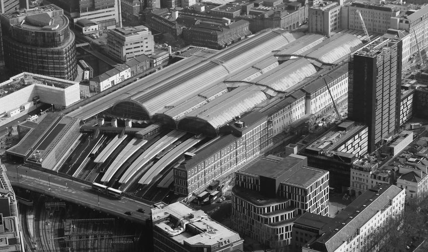 High Angle View Of Paddington Railway Station Amidst Buildings In City