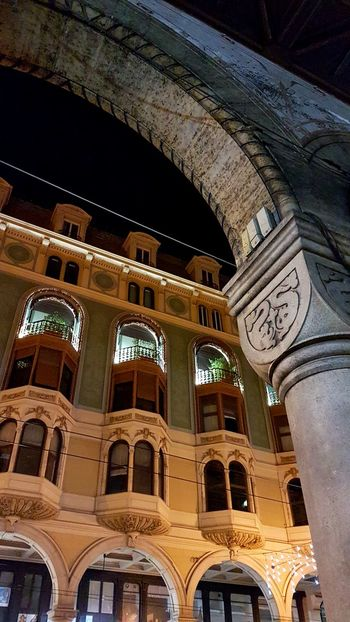Streetlights Streets No People Stone Stonestructures Architecture Ancient City Cities At Night Genova Night Arch Built Structure Illuminated Columns Colonne Architectural Column Porticato Portici Windows Colour Your Horizn EyeEmNewHere