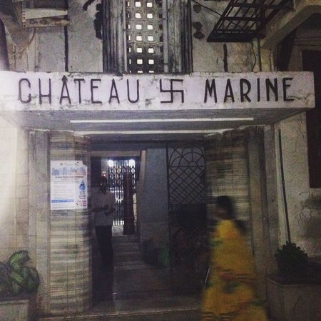 Bombay Building Exterior Chateau Marine Dog Entrance Façade Front View Indoors  Marine Drive Mumbai Night Sari Svastika Yellow Sand