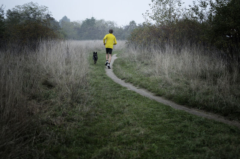 Rear view of man jogging with dog on land