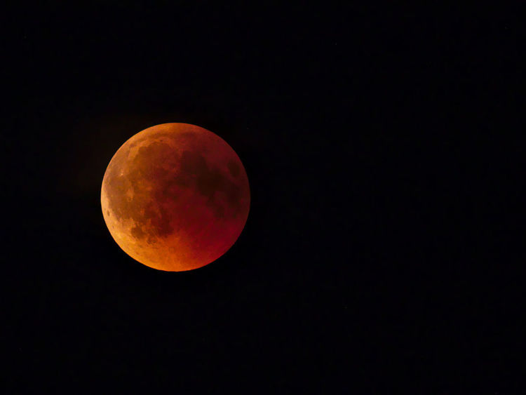 Blood Moon starts to vanish - lunar eclipse 2018/07/27 Light Astronomy Blood Moon Eclipse Full Moon Moon Nature Night Planetary Moon Red Color Sky Space Space And Astronomy