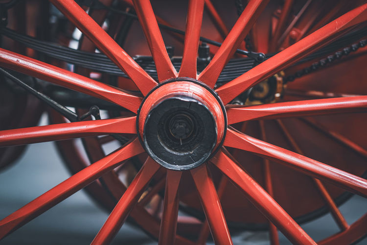 Full frame shot of red wheel