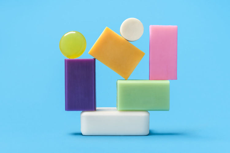 Close-up of toys against blue background