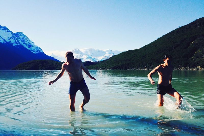 Brave swimmers climbing out of the glacial lake Dickson, Torres del Paine, Patagonia. The Explorer - 2014 EyeEm Awards Patagonia Torres Del Paine