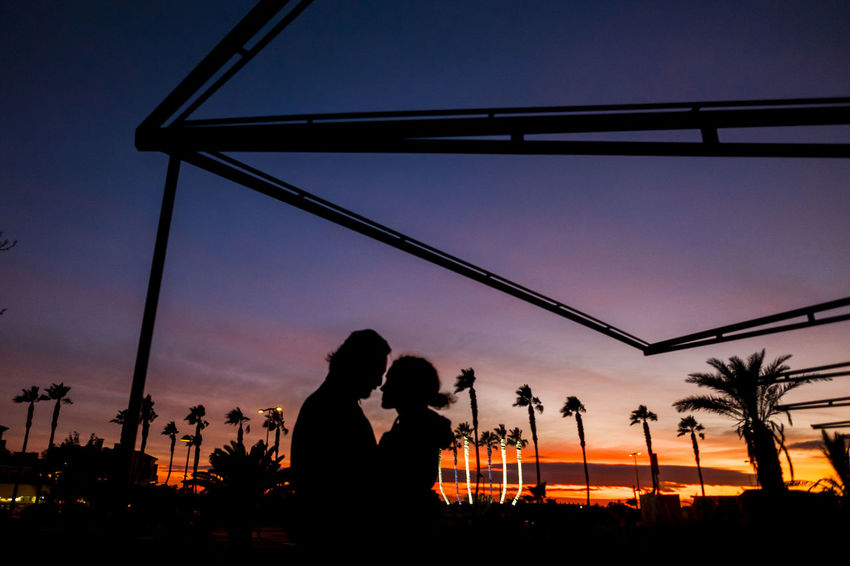 romantic couple in love outdoor in sunset between palm trees Bonding Boys Clear Sky Couple In Love Day Friendship Lifestyles Love Nature Outdoors Palm Tree People Real People Silhouette Sky Suggestive Place Sunset Tenderness Togetherness Tree Two People Vacations