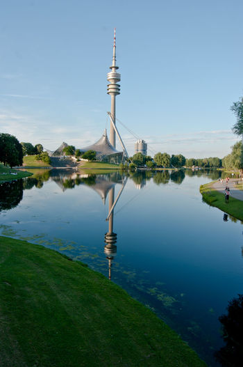 Architecture Comm Tower Communications Tower Lake Munich Architecture Munich Olympic Area Munich, Germany Reflection Sky Tower Travel Destinations Water