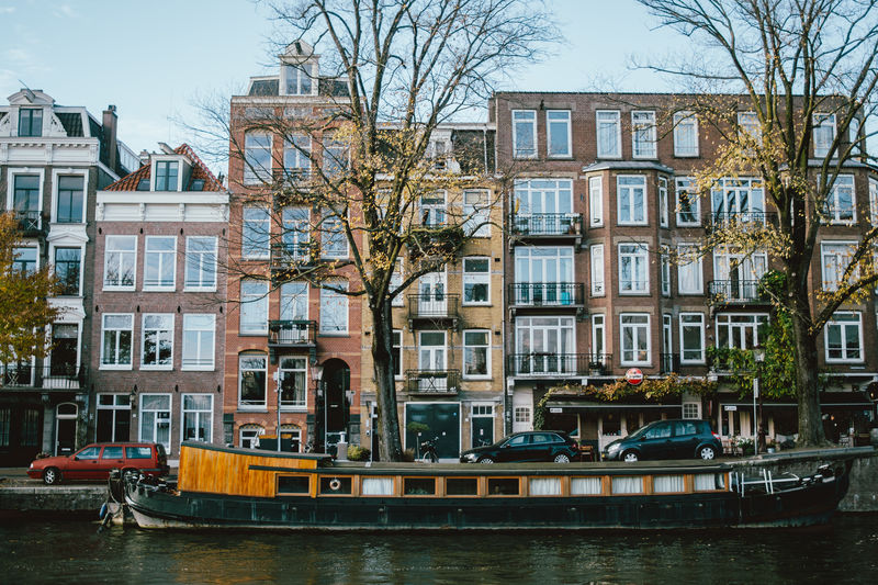Nautical Vessel Architecture Amsterdam Buildings Canal Netherlands Autumn Fall Boat