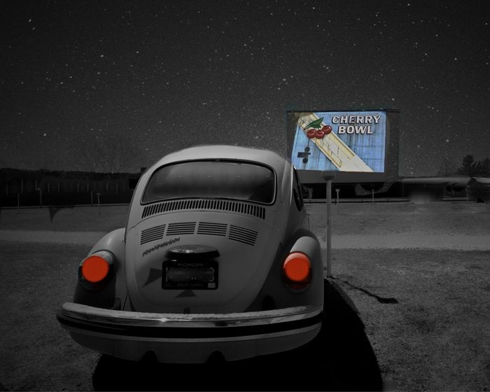 Pass the Popcorn. The Cherry Bowl Drive-in Theater in Michigan has been operating since 1953. Drive-in Movie Drive-in Theater Mode Of Transport Night Sky No People Old Car Outdoors Sky Taillights VW Beetle Cinema In Your Life Fine Art Photography Neighborhood Map
