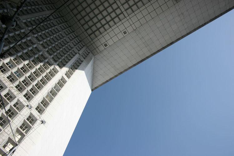 La Grande Arche de la Défense. France La Grande Arche De La Défense Paris Architecture Building Exterior Built Structure City Clear Sky Day Detail Low Angle View Modern No People Outdoors Sky Skyscraper Travel Destinations