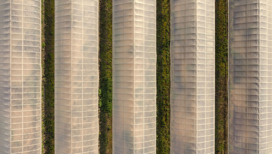 Aerial view of greenhouse amidst plant