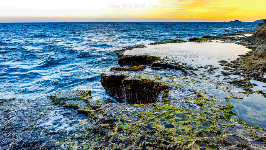 sea Water Rock - Object Motion Wave Tranquility Land Beach Sky Horizon Horizon Over Water Scenics - Nature Sea Tranquil Scene No People Nature Rock Solid Beauty In Nature Day Outdoors Flowing Water