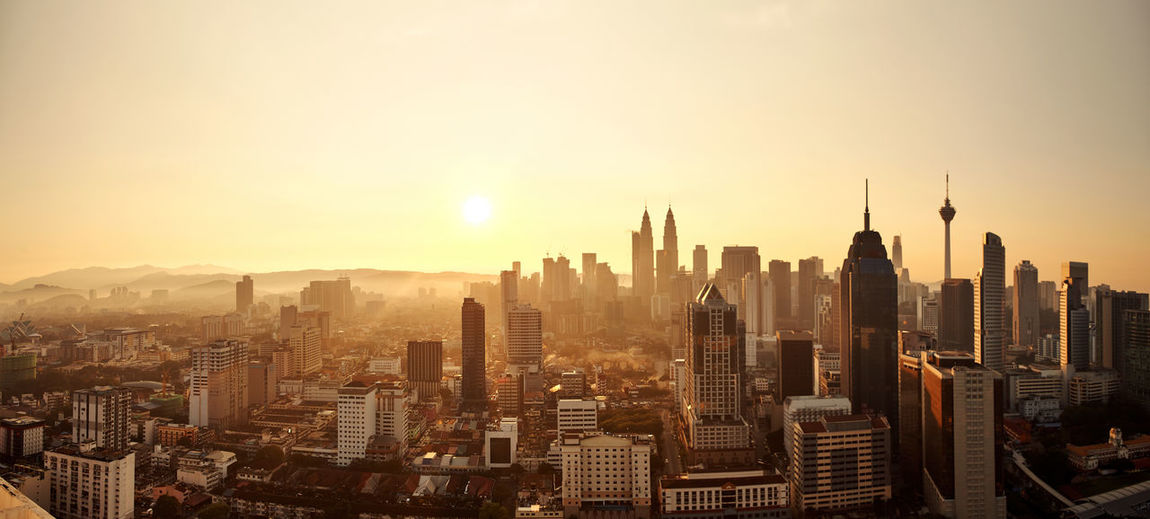 Sunrise scene ,skyscraper of kuala lumpur malaysia