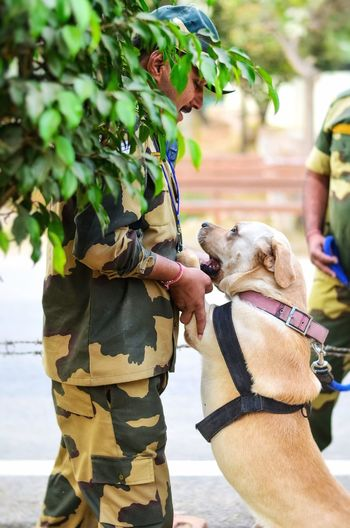 Side View Of Army Soldier With Dog