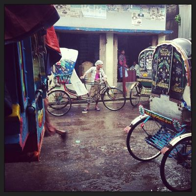 Monsoon Rain Chaktai Chittagong Rickshaw Daily Life