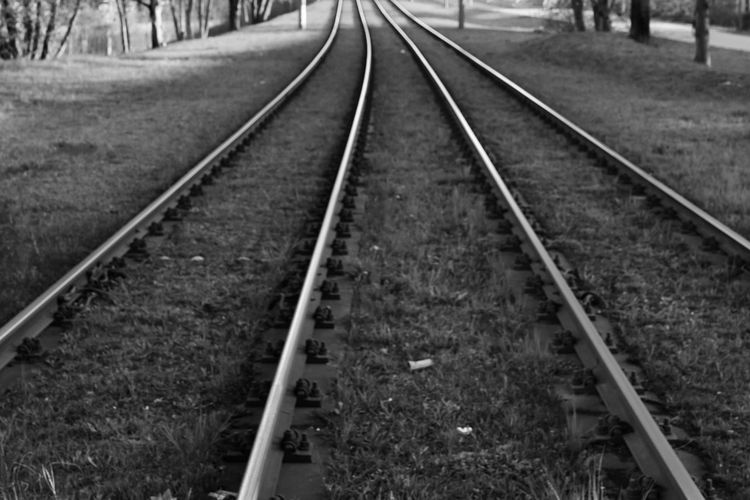 Blackandwhite Bkack And White Black And White Photography Road To Nowhere Rails Rail Transportation Railroad Track Track The Way Forward Direction No People Transportation Nature Plant Day Land Focus On Foreground Diminishing Perspective Travel Outdoors Field Public Transportation Grass vanishing point Mode Of Transportation Parallel Long