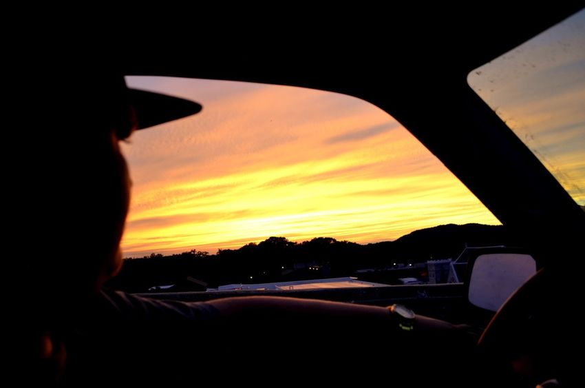 out my window Car Sunset Transportation Orange Color Travel Sky Vehicle Interior Real People Car Interior Silhouette Land Vehicle Human Hand Nature Landscape One Person Outdoors Day