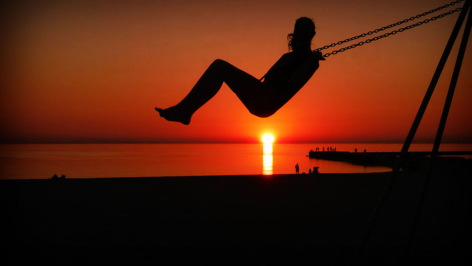 Beautiful Life Sunset Silhouettes Action Beauty In Nature Horizon Over Water Inspiration Inspiring Jumping Leisure Activity Lifestyles Mid-air Nature One Person Orange Color Outdoors Quote Real People Scenics Sea Silhouette Silhouette Photography Sky Sunset Water