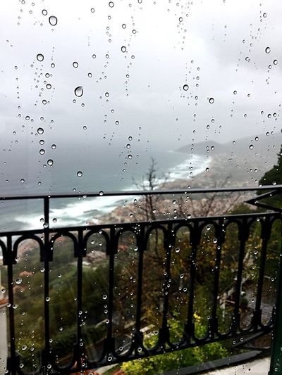 Cilento Castellabate Italy Italia Water Drop No People Weather Wet Railing Outdoors Window RainDrop Day Close-up Nature Architecture Sky
