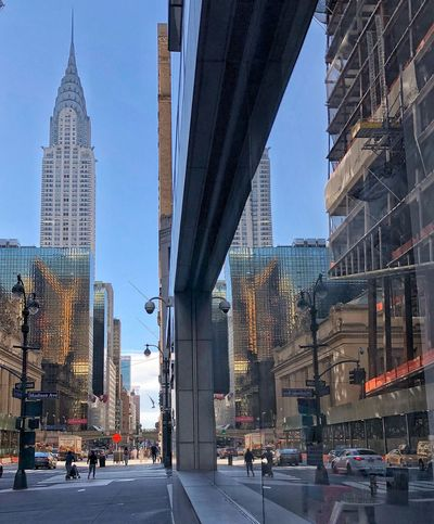 New York Streets Mirror Reflection Built Structure Architecture City Building Exterior Building Office Building Exterior Tall - High Tower Skyscraper Sky Street Modern Car Travel Destinations Cityscape