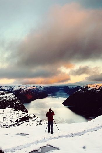 Snow Winter Norway Adventure Fiords Nordic Lysefjord Preikestolen Stavanger View Canonphotography Photographer Weather Mountain Sky Nature One Person Beauty In Nature Scenics Canon5dmk2 Water Norway🇳🇴 Norway 2015 Norwayfjords Trip Photo