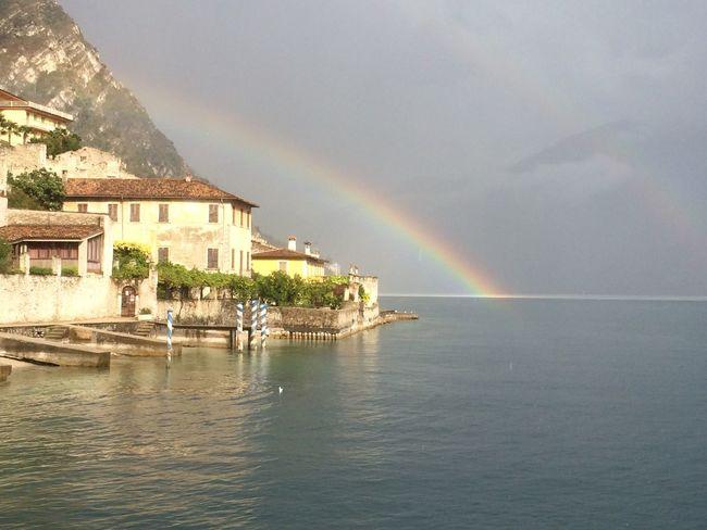 Lake Garda Scenics Majestic Rainbow Architecture Water Sky Italy Dream Phenomenal Scenery Mountain Rain Rainy Days
