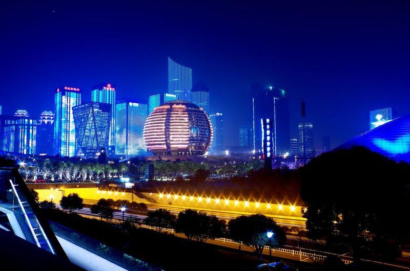钱江夜景 Illuminated Architecture Building Exterior Skyscraper Night City Built Structure