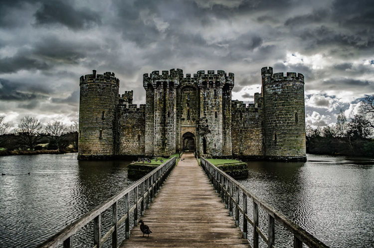 Bodiam Castle in glory Architecture Atmospheric Bodiam Castle Bridge Building Exterior Built Structure Castle Cloud - Sky Day English Heritage Fortress History Moat Moated Castle Moody No People Old Ruin Outdoors Protection Sky War War Buildings Water EyeEmNewHere