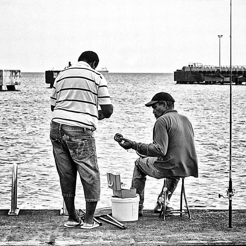 Fishing with a friend Better Together Blackandwhite Black And White Monochrome Streetphotography Streetphoto_bw Fishing People