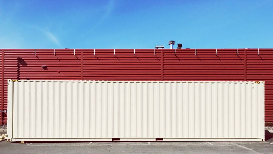 The Alternate. Corrugated No People Built Structure Corrugated Iron Architecture_collection Architectural Detail Minimalist Architecture Building Exterior Architecture Copy Space Blue Wall - Building Feature Wall Day Industry Sky Transportation Cargo Container