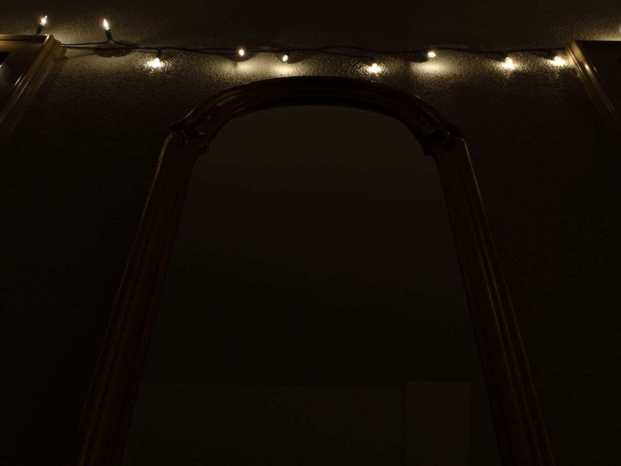 illuminated, low angle view, indoors, no people, architecture, night