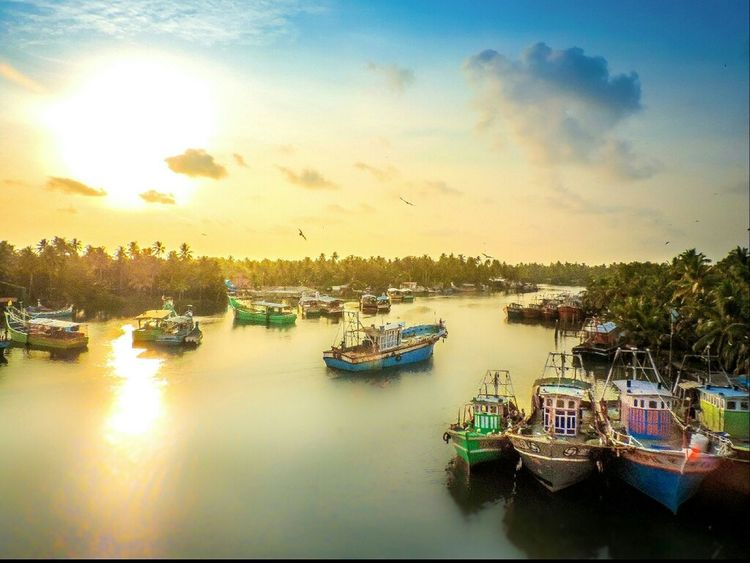 Fishing Boat Harbour Harbour View Boats Sunset Sunshine River Kerala India Nikon