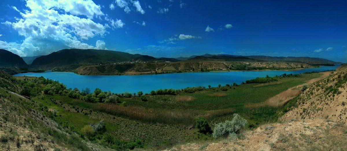 Река Сулак, Дагестан. Mountain Landscape Water Lake River Nature Outdoors Beauty In Nature Sky Travel Destinations Dagestan Tranquility Green Color UnderSea Tranquil Scene Blue LeEco LeTv X600 Panorama