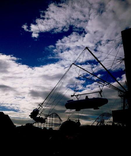 Amusement rides at night be like. Blackpool Rockets Swinging Terrificsky Cloud - Sky Silhoutte Photography Silhouetterockets Eyemsilhouttes Eyemgallery