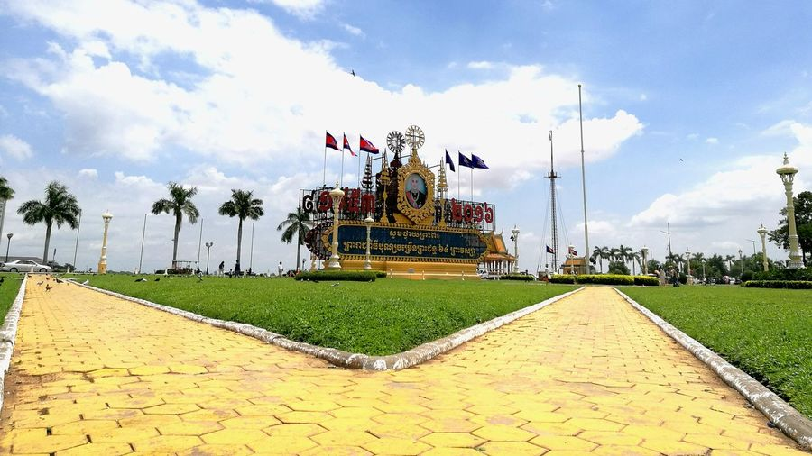 In front of Royal Palace of Cambodia Sky Cloud - Sky Famous Place Tourism Building Exterior Day Cloud Outdoors Cloudy In Front Of Culture No People Footpath First Eyeem Photo
