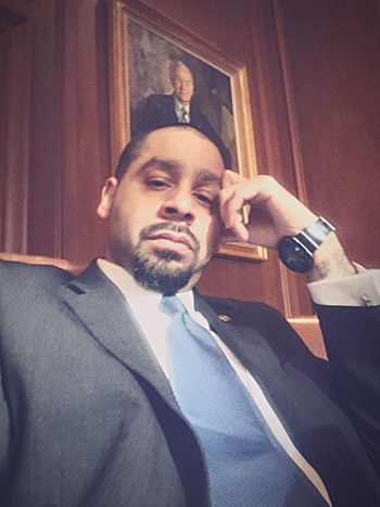 Vintage Photo Young Adult Self Portrait Looking At Camera Indoors  Bosslife BoardRoom IPhone Suitedman Cleancut Goatee