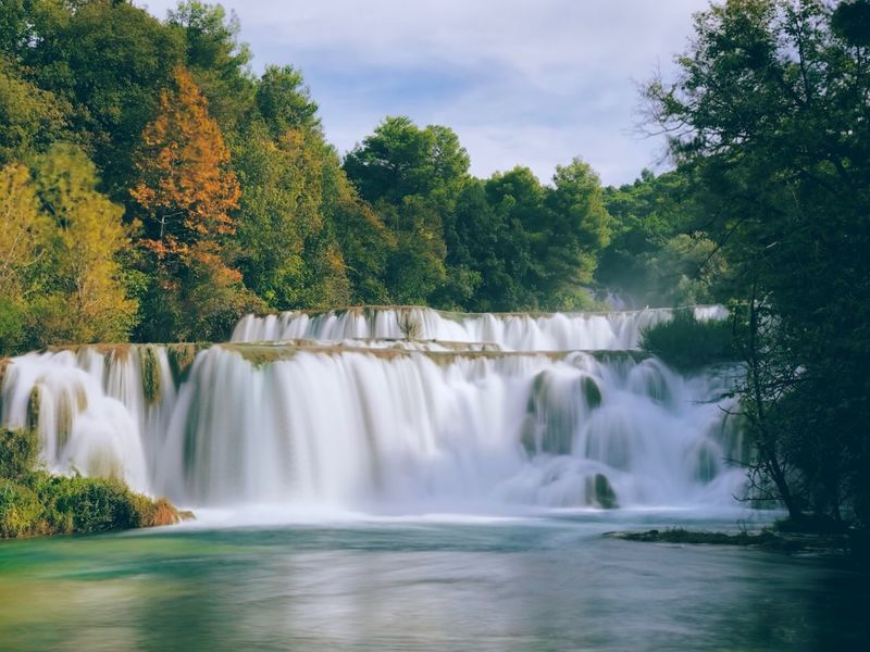 Shot On IPhone Krka National Park Croatia Tree Water Plant Beauty In Nature Scenics - Nature Long Exposure Motion Waterfall Flowing Water Nature Sky No People River Flowing Splashing