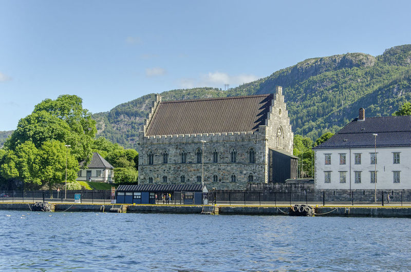 Bergen Bryggen, Day Harbour Håkonshallen Norway Outdoors Ship Sky Summer Viking Castle Vågen Water
