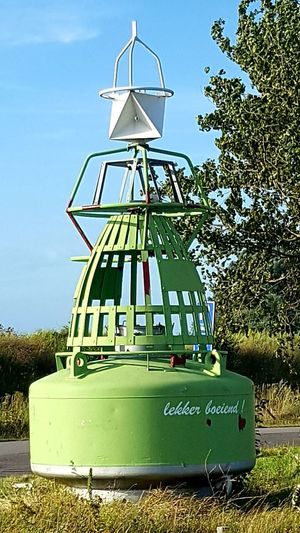 Buoy Green Green Color Outdoor Photography Taking Photos Shipping Buoy Trees Sky