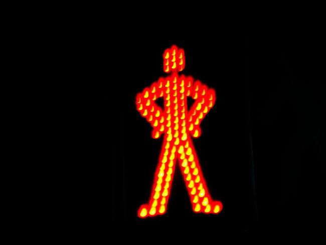 Black Background Close-up Don't Cross Human Representation Illuminated Night No People Outdoors Road Sign Semaphore