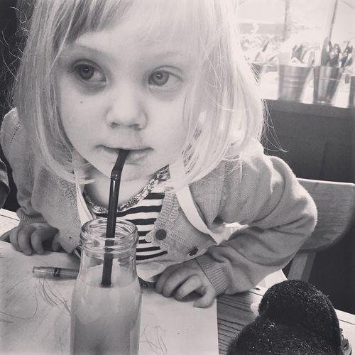 Orange Juice  Breakfast Little Bottle Straw Toddler  Blonde My Favorite Breakfast Moment Hello World