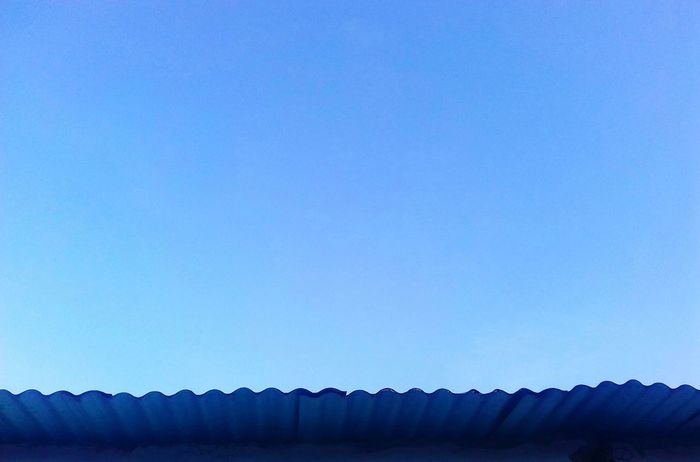 Blue Sky 7:00 7:00am Morning Sky Smartphone Smartphonephotography Simplicity Simple Photography Zinc Roof Bluesky Clear Sky Clear Blue Sky Blue Sky Clear Sky Blue Sky Close-up Corrugated Tranquil Scene Calm Roof Sheet Metal