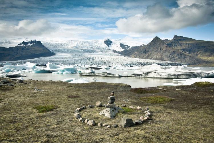 Beauty In Nature Clouds Day Elves Iceland Iceland IIceiIcebergiIslandlLandscapemMountainNNaturenNo PeopleoOutdoorsrRingsScenicssSeasSkytTranquil SceneTTranquilitywWater