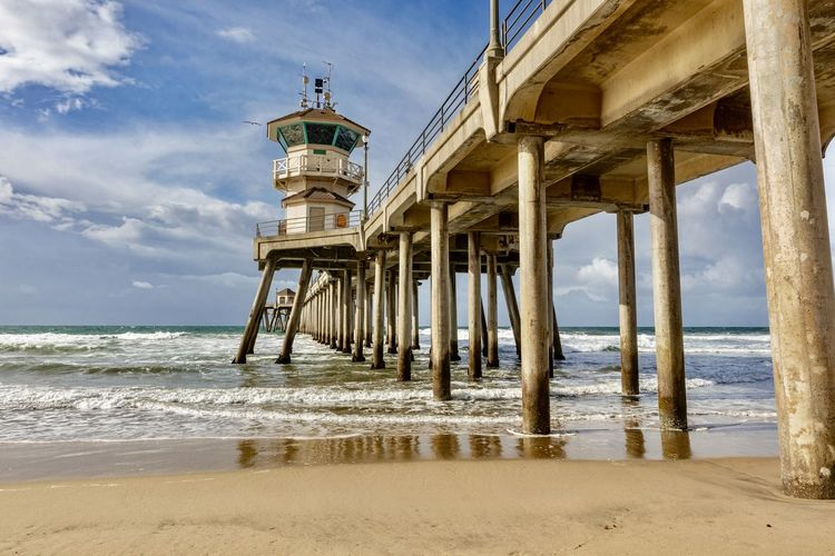 Scenic view of sea against sky at the huntington beach pier, california