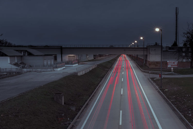 From My Point Of View Getting Dark Industrial Industrial Landscapes Learn & Shoot: After Dark Lighting Long Exposure Simplicity Street Street Lights Taking Photos Light Trails