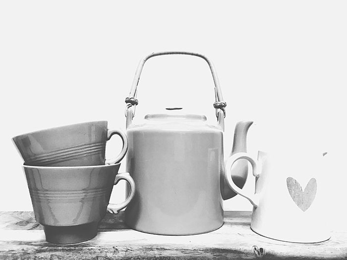 Love a cuppa monochrome photography Monochromatic Monochrome Black And White Photography Jug Teapot Teacups No People Teabag Drink Indoors  Tea - Hot Drink Aluminum White Background