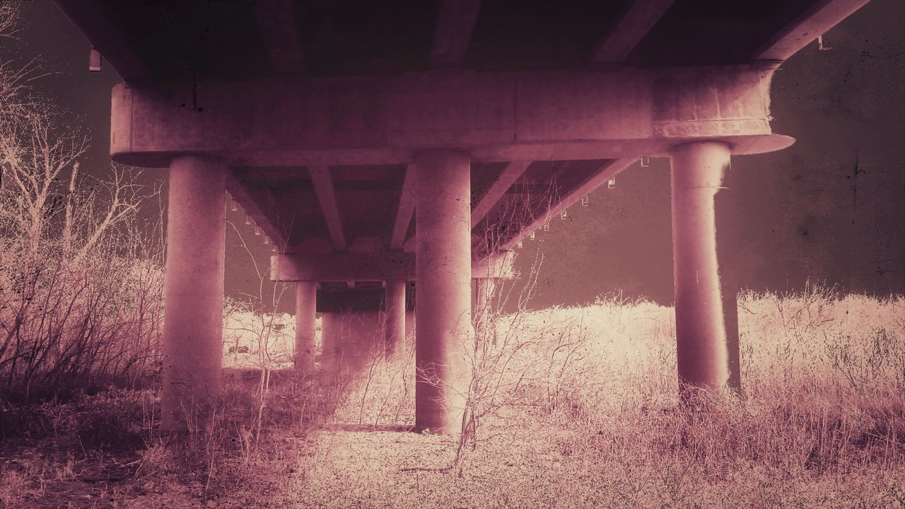 bridge - man made structure, connection, underneath, architecture, below, built structure, engineering, transportation, architectural column, outdoors, under, day, low angle view, bridge, strength, no people, nature